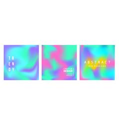 Holographic retro futuristic cover set vector
