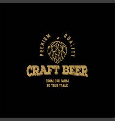 Hops craft beer ale brewery label logo design vector