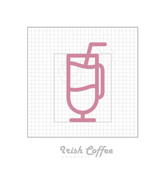 Icon of cocktail with modular grid irish coffee vector