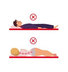 Incorrect sleeping posture of man woman vector
