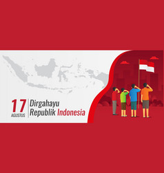 Indonesia independence day banner with saluting vector
