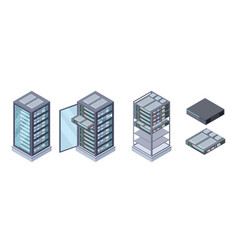 isometric servers data storages 3d vector image