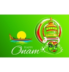 Kathakali dancer face and boat racing for Onam vector