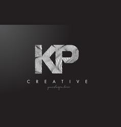 kp k p letter logo with zebra lines texture vector image