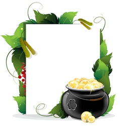 Leprechaun pot and gold coins with leaves and vector