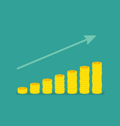 Linear growth graph with stacks coins vector