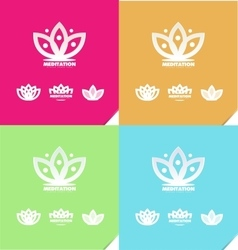 Lotus flower meditation logo icon vector
