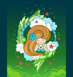 lying beautiful girl with long beautiful hair vector image