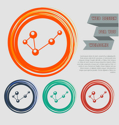 molecule on the red blue green orange buttons for vector image