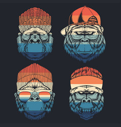 monkey cool collection retro vector image