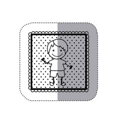 monochrome sticker in square frame and dotted vector image