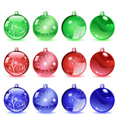 Multicolored Christmas balls Set 2 of 4 vector image