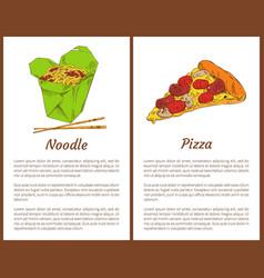 Noodle with chopsticks pizza vector