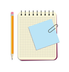 notebook with blue notice paper and yellow pencil vector image