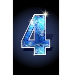 Number blue shine design vector