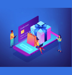 online gift purchase isometric 3d concept vector image