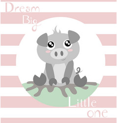 Piglet with baby pink stripes vector