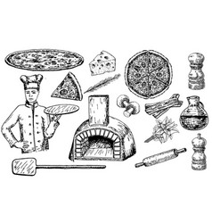 Pizza set ink hand drawn vector