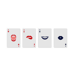 poker aces represented gestures in womans vector image