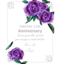 Purple roses flowers watercolor vintage vector