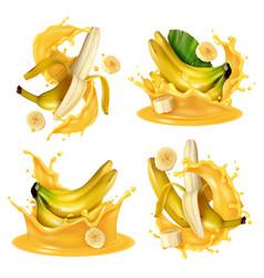 realistic banana splash set vector image