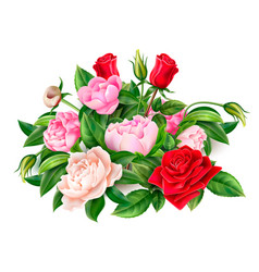 realistic red rose peony elegant bouquet vector image