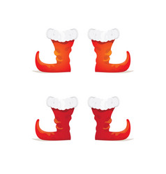 Red cartoon christmas elf shoes collection vector