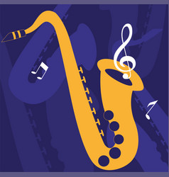Saxophone musical on note background vector