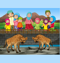 scene with hyena and people at zoo vector image