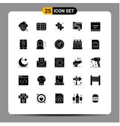 Set 25 commercial solid glyphs pack for safe vector