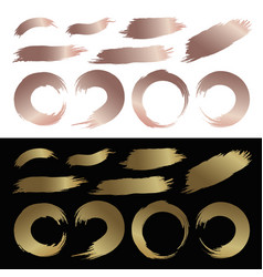 set gold and copper color brush stroke vector image