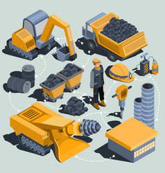 set isometric isolated elements the vector image