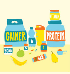 Sport foods nutrition and fruits cartoon vector
