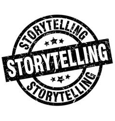 Storytelling round grunge black stamp vector
