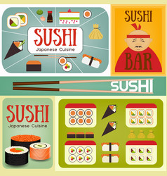 Sushi bar posters set vector