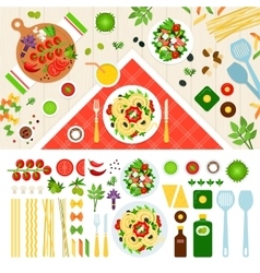 Tasty pasta served on the table vector