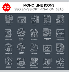 thin line icons set search engine optimization vector image