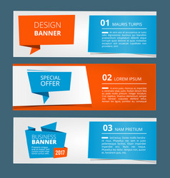 three horizontal banners with abstract modern vector image