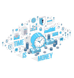 Time is money concept table clock with cash money vector