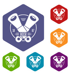 tin opener icons hexahedron vector image