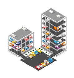 traffic transport city multi-story parking carpark vector image