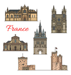 Travel landmarks of medieval french architecture vector