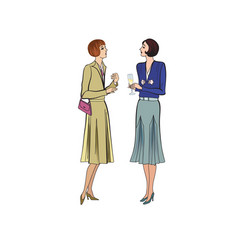 Two women conversation on party retro dress in vector