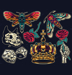 vintage colorful tattoos collection vector image
