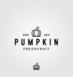 vintage line art pumpkin fruit halloween logo vector image