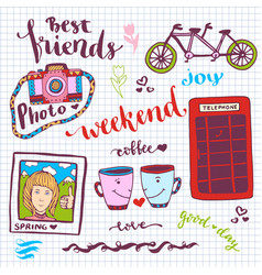 Weekend stickers romantic set of hand drawn vector