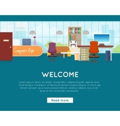 Welcome to office web banner in flat design vector