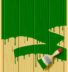 Wood boards painted in green color with a paint vector