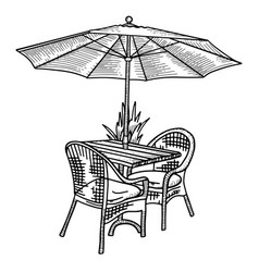 wooden table and two wickerchairs under sun vector image
