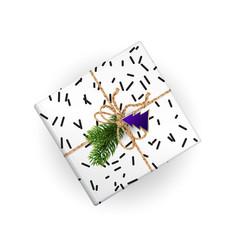 Xmas gift box top view with handmade ribbon vector